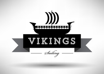 Viking Ship Icon with Typographic Design