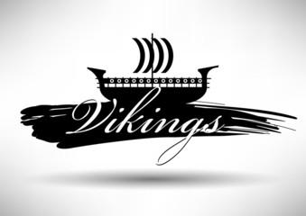 Viking Ship Icon with Typographic Design