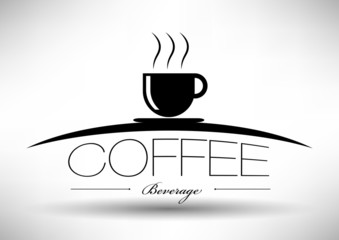 Coffee Cup Icon with Typographic Design