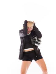 model isolated on plain background stressed upset pulling hairs