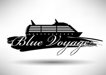 Cruise Ship Icon with Typographic Design