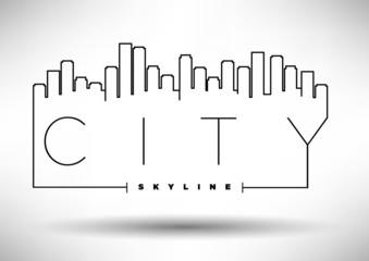 City Skyline Icon with Typographic Design