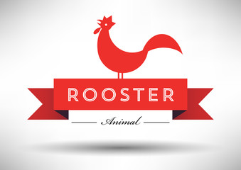 Rooster Icon with Typographic Design
