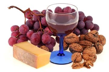 Raisin, vin, fromage et noix