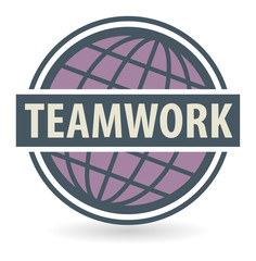 Abstract stamp or label with the text Teamwork