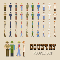 Collection Of Country People In Different Positions