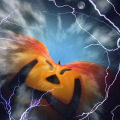 Zucca di Halloween gigante tra i fulmini