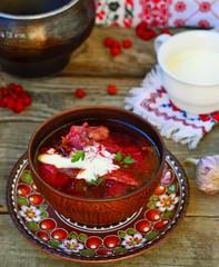 borsch, traditional Ukrainian beet and sour cream soup