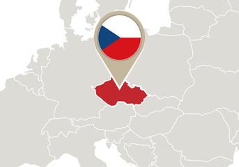 Czech Republic on Europe map