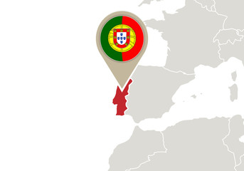 Portugal on Europe map