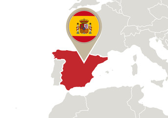 Spain on Europe map