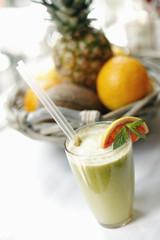 Green Fruit Juice in a Glass