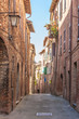 The narrow twisting streets in the small Italian town