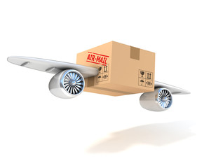 air mail 3d concept - cardboard box with wings and jet engines