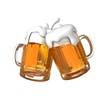 Pair of beer glasses making a toast. Beer splash - 72314637