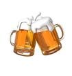 Pair of beer glasses making a toast. Beer splash - 72314637