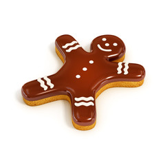chocolate biscuit gingerbread man 3d illustration