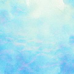 Painted abstract watercolor water, sea, clouds and sky.