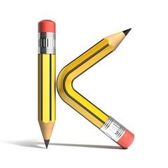 pencil 3d font letter k