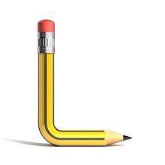 pencil 3d font letter l