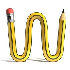 pencil 3d font letter w