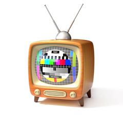 retro tv with test screen 3d illustration