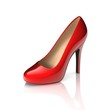 canvas print picture - red high heel shoe 3d