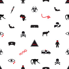ebola disease icons seamless white pattern eps10