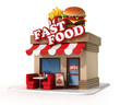 fast food restaurant 3d illustration