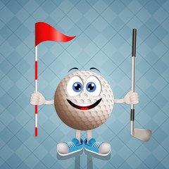 Funny golf ball with club and flag