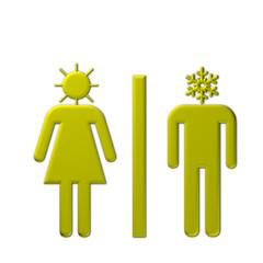 Uomo e donna con simboli meteo in testa
