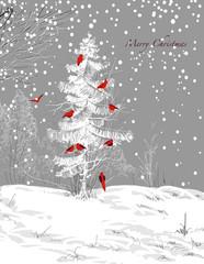 Birds Christmas tree, winter scene