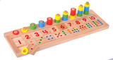 Wooden toy scores colorful blocks