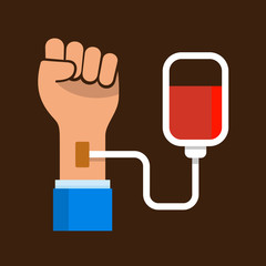 Hand with Blood Bag. Donation Icon.