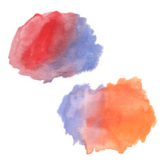watercolor brush strokes in red, blue and orange