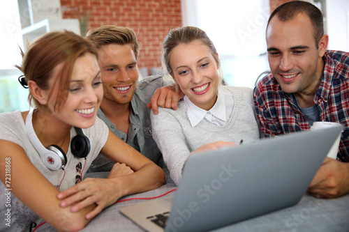 Group of friends having fun making a video call