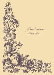 Vintage style decorative graphic floral corner
