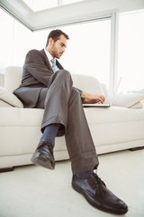Businessman using laptop in living room
