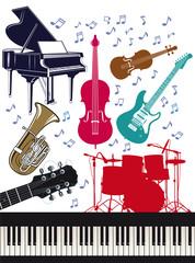 Fröhliche Musikinstrumente