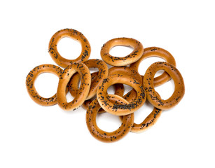 Ring bagels on a white background