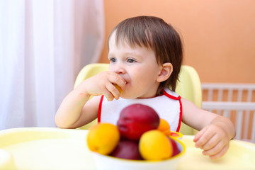 lovely baby eating peaches and apricotes