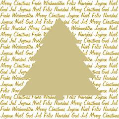 Goldener Tannenbaum auf Weihnachtsgrüße in 5 Sprachen