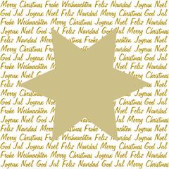 Goldener Stern auf Weihnachtsgrüße in 5 Sprachen