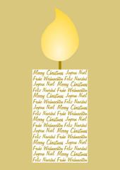 Kerze gefüllt mit Weihnachtsgrüßen in vier Sprachen