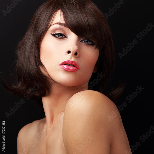 canvas print picture Sexual makeup woman with red sexy lips and short brown hair