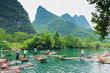 Leinwanddruck Bild - Flösser au dem Li-Jiang
