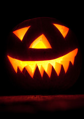 Traditional carved Jack O'Lantern. Halloween concept
