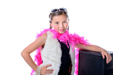 a pretty little girl with a pink feather boa