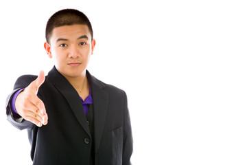 model isolated on plain background greetings hand shake