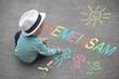 Leinwanddruck Bild - Kinderzeichnung - Gemeinsam